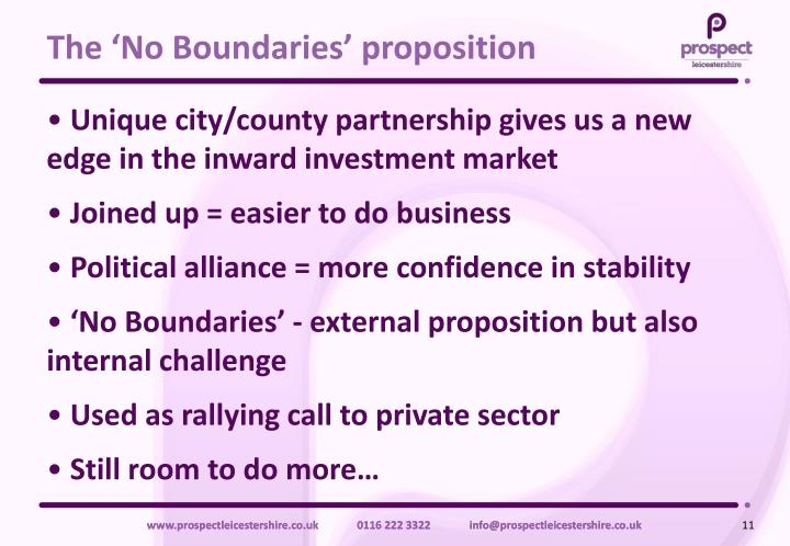 The 'No Boundaries' proposition