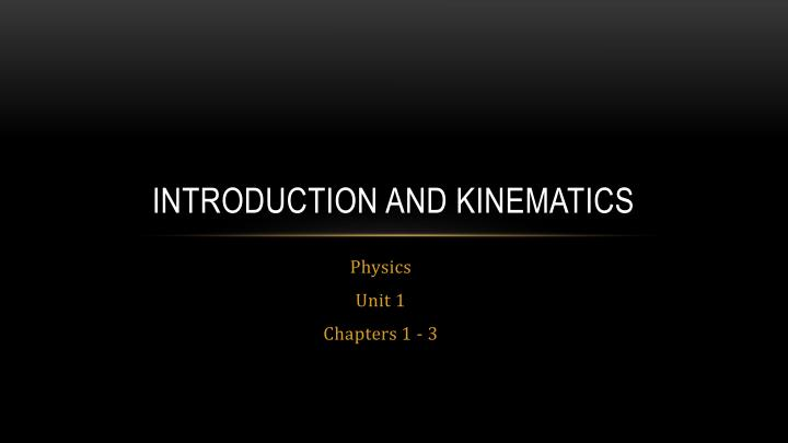 introduction and kinematics n.