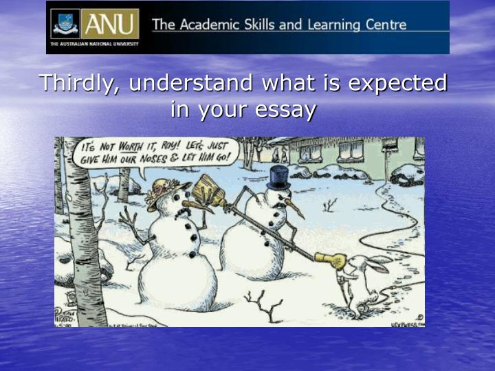 Thirdly, understand what is expected in your essay
