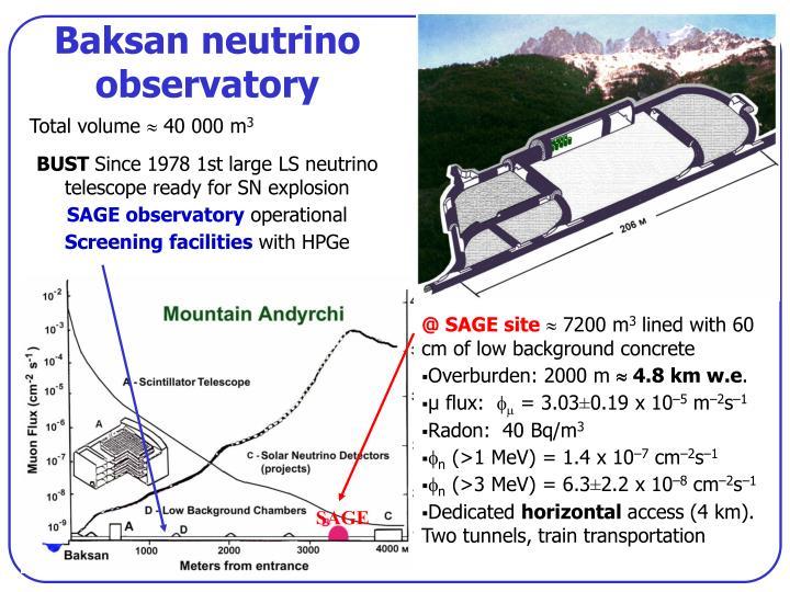 Baksan neutrino observatory