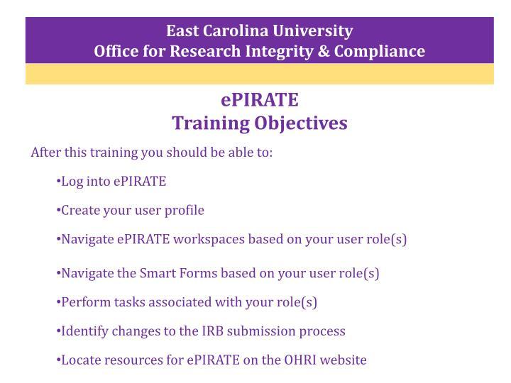 Epirate training objectives