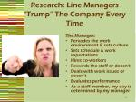 research line managers trump the company every time
