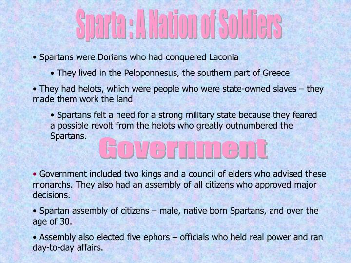Sparta : A Nation of Soldiers