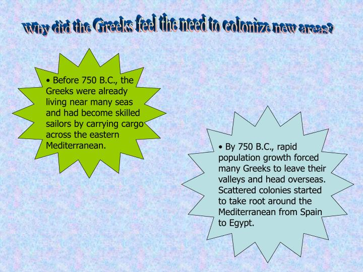 Why did the Greeks feel the need to colonize new areas?