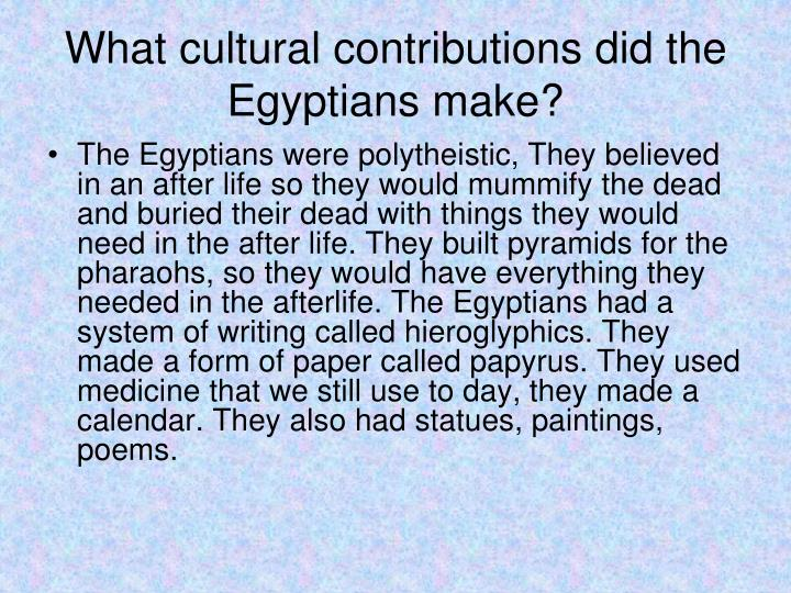 What cultural contributions did the Egyptians make?