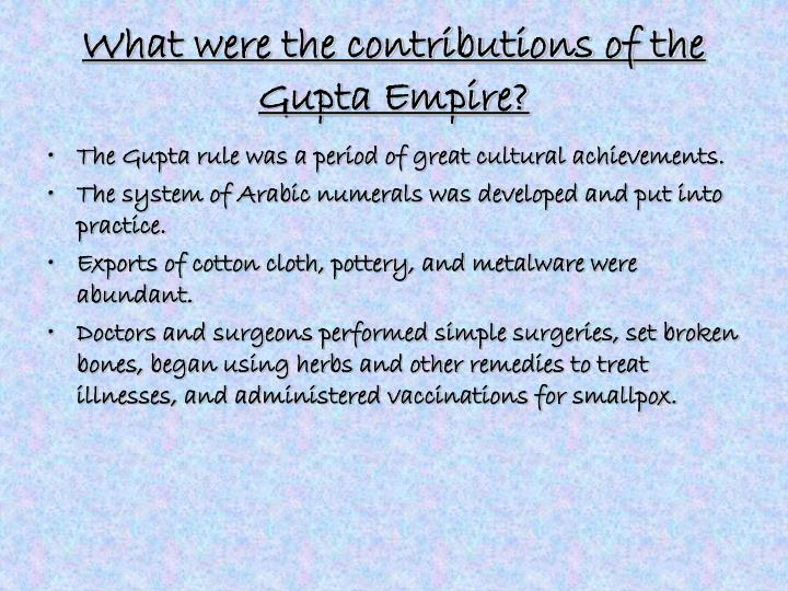 What were the contributions of the Gupta Empire?