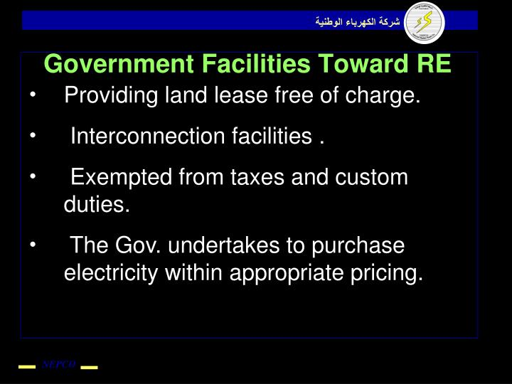 Government Facilities Toward RE