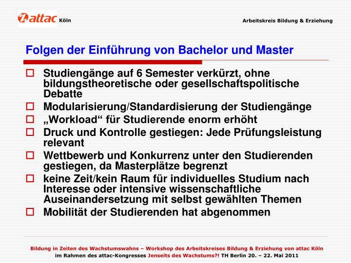 Folgen der Einführung von Bachelor und Master