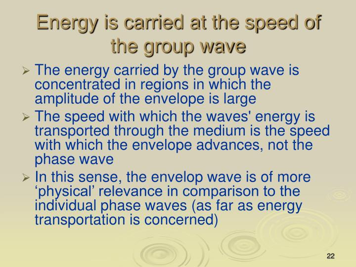 Energy is carried at the speed of the group wave