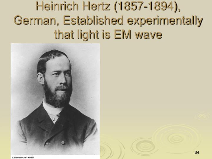 Heinrich Hertz (1857-1894), German, Established experimentally that light is EM wave