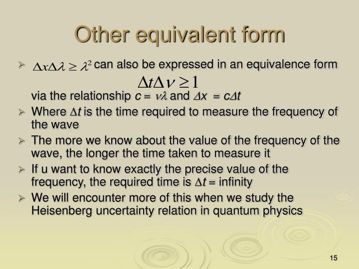 Other equivalent form