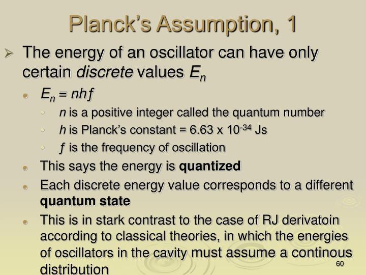 Planck's Assumption, 1