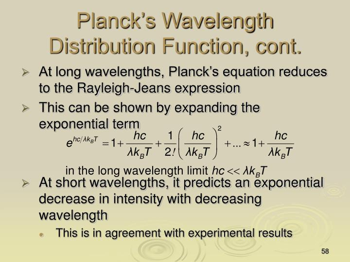 Planck's Wavelength Distribution Function, cont.