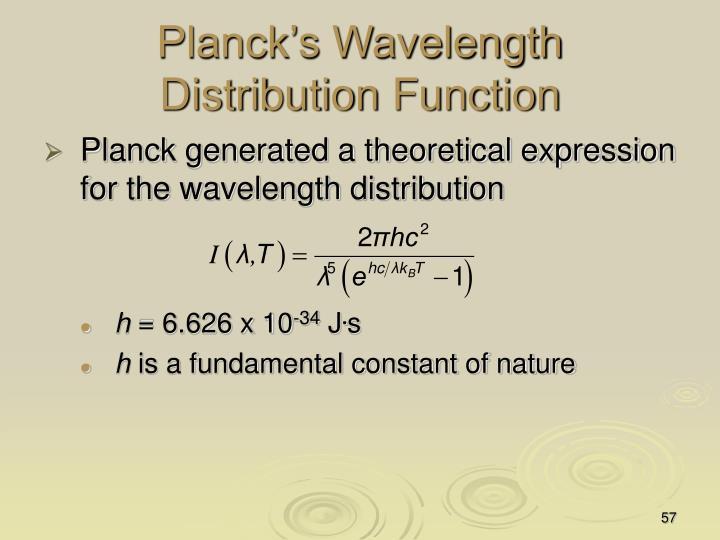 Planck's Wavelength Distribution Function
