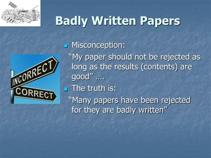 Badly Written Papers