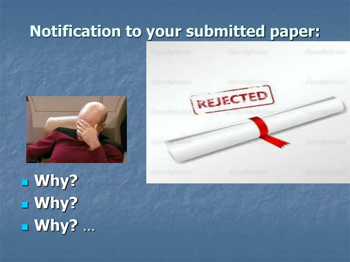 Notification to your submitted paper: