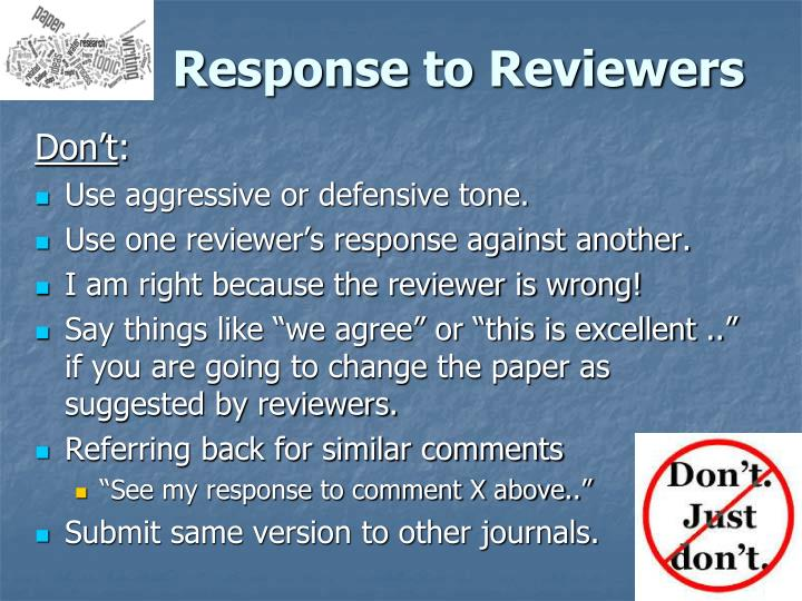 Response to Reviewers