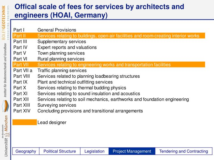 Offical scale of fees for services by architects and engineers (HOAI, Germany)