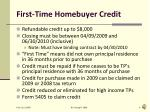 first time homebuyer credit
