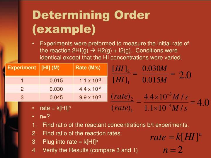 Determining Order (example)
