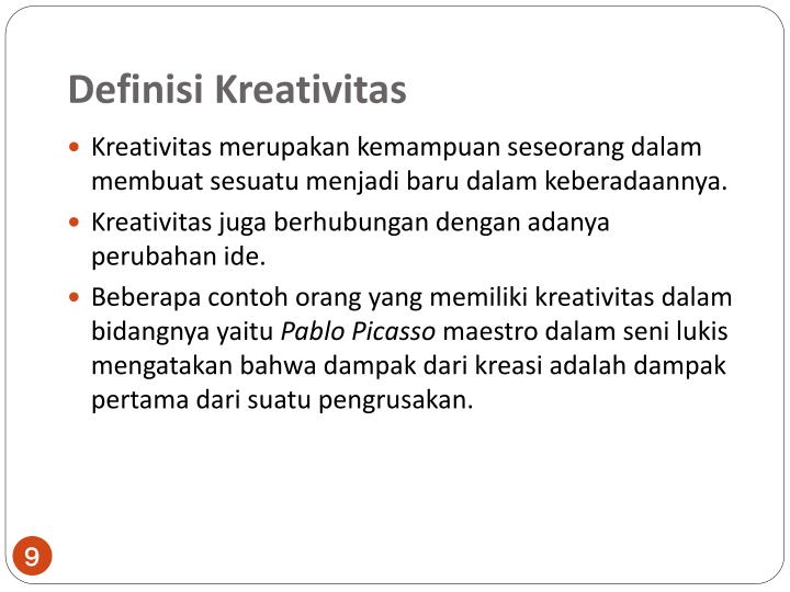 Definisi Kreativitas