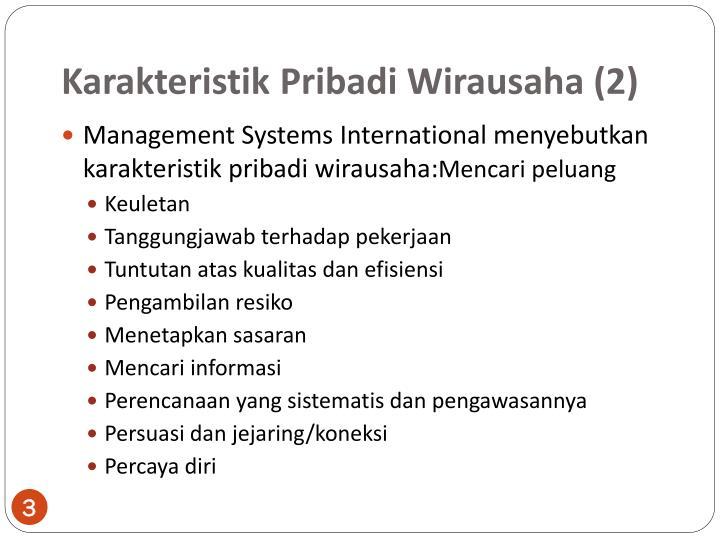 Karakteristik pribadi wirausaha 2