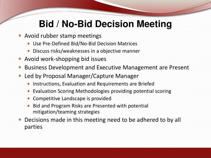 Bid / No-Bid Decision Meeting