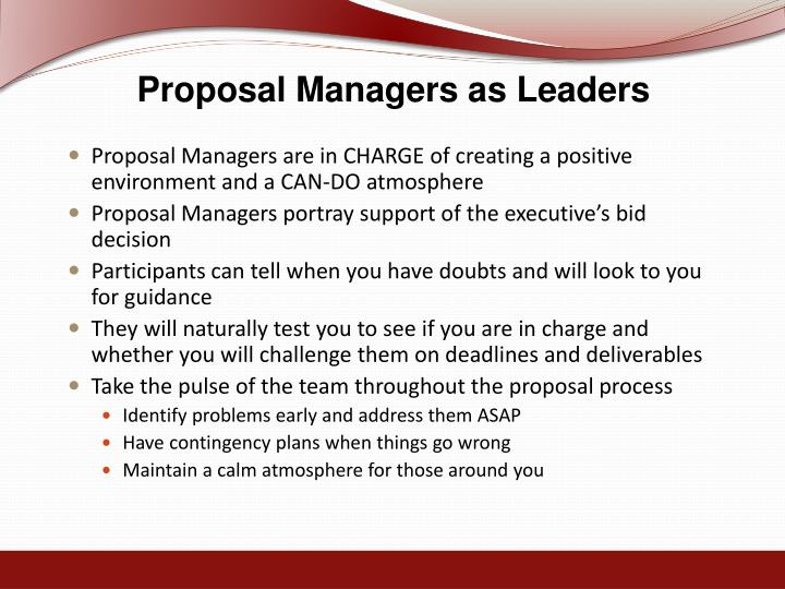 Proposal Managers as Leaders