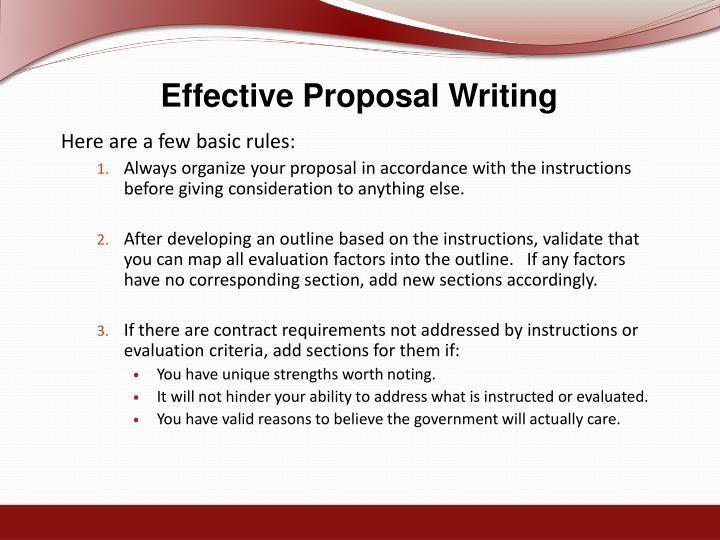 Effective Proposal Writing