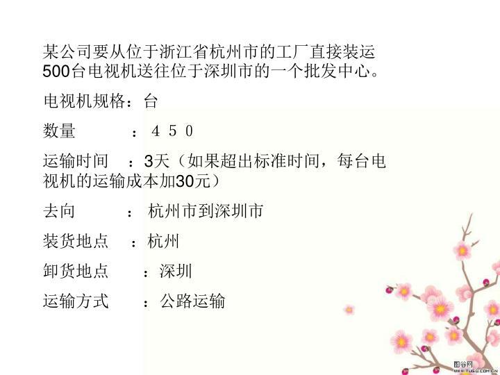 某公司要从位于浙江省杭州市的工厂直接装运