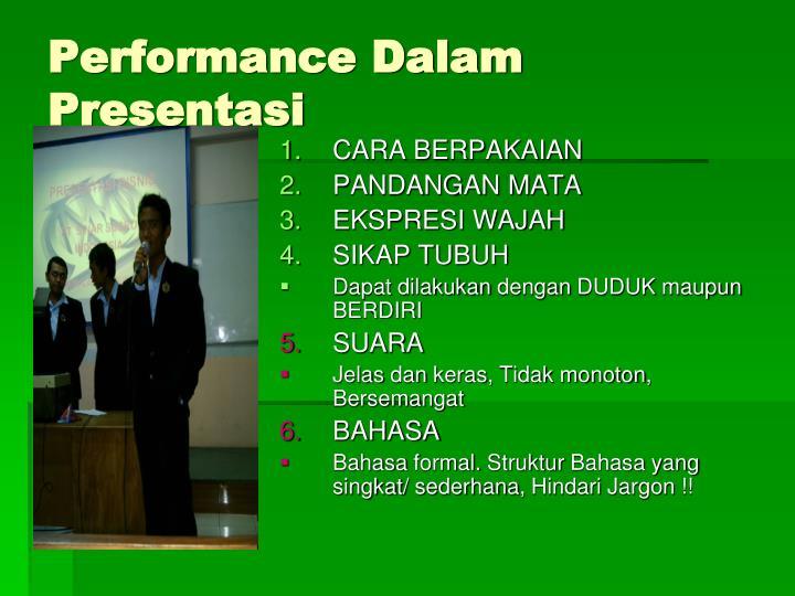 Performance Dalam Presentasi