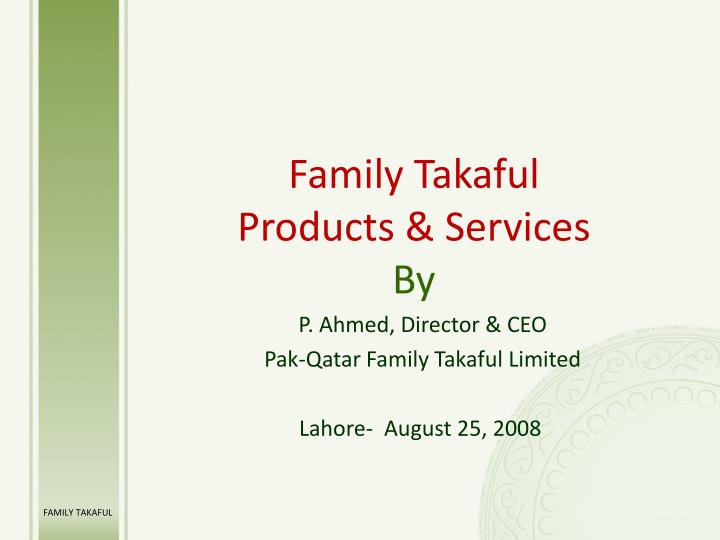 family takaful products services by n.