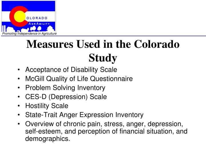 Measures Used in the Colorado Study