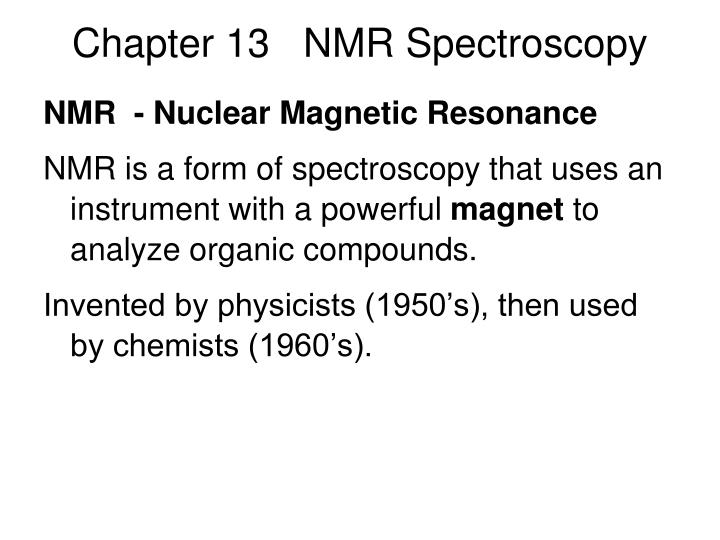 chapter 13 nmr spectroscopy n.