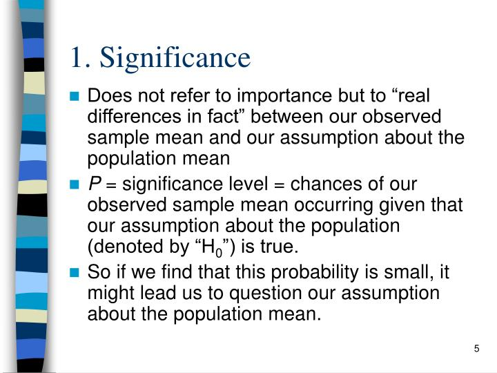 1. Significance
