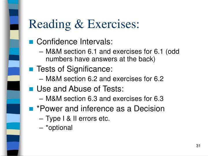 Reading & Exercises: