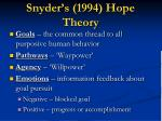 snyder s 1994 hope theory