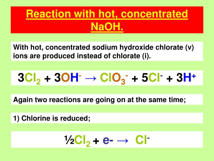 Reaction with hot, concentrated NaOH.