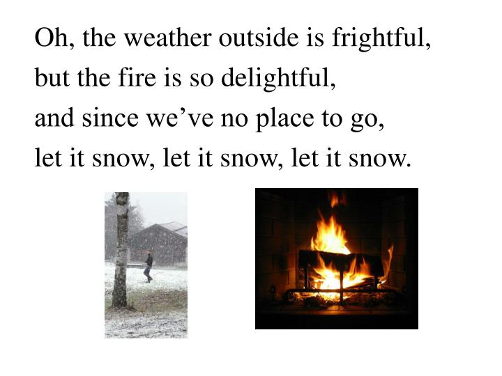 Oh, the weather outside is frightful,
