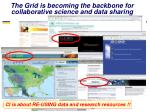the grid is becoming the backbone for collaborative science and data sharing