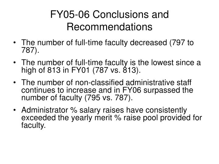FY05-06 Conclusions and Recommendations