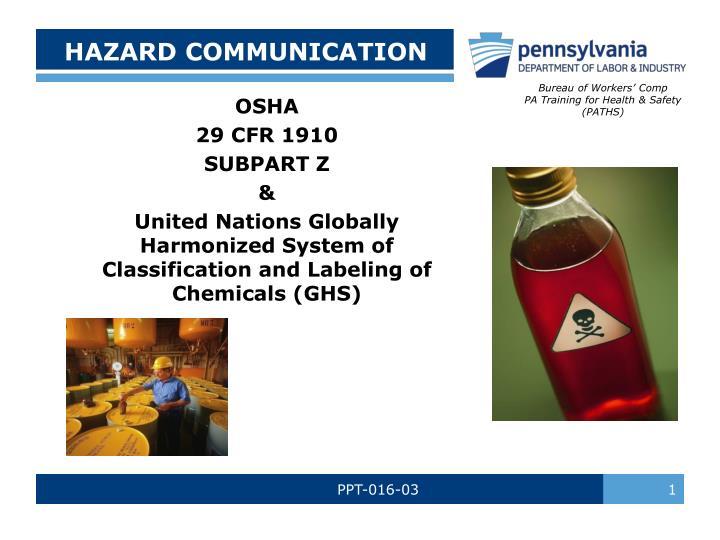 hazard communication n.