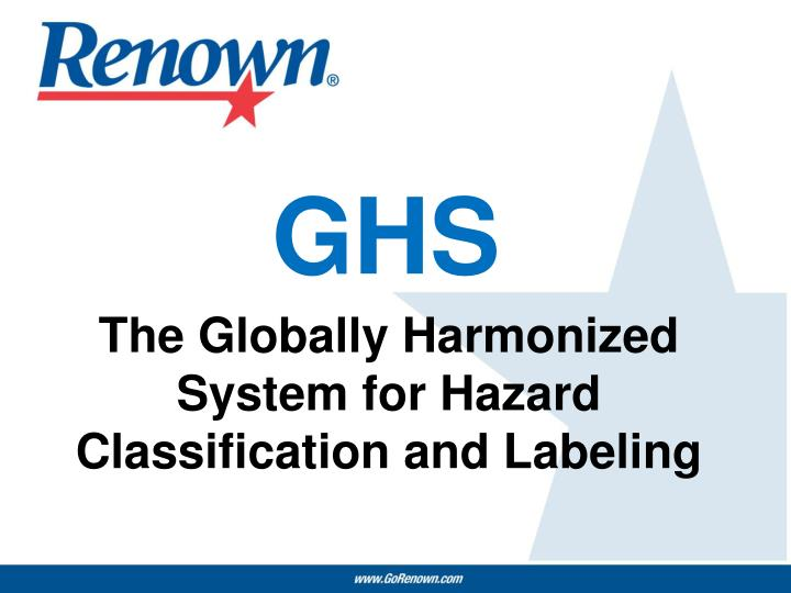 the globally harmonized system for hazard classification and labeling n.