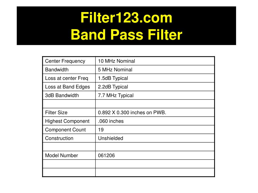 PPT - Filter123 Band Pass Filter PowerPoint Presentation