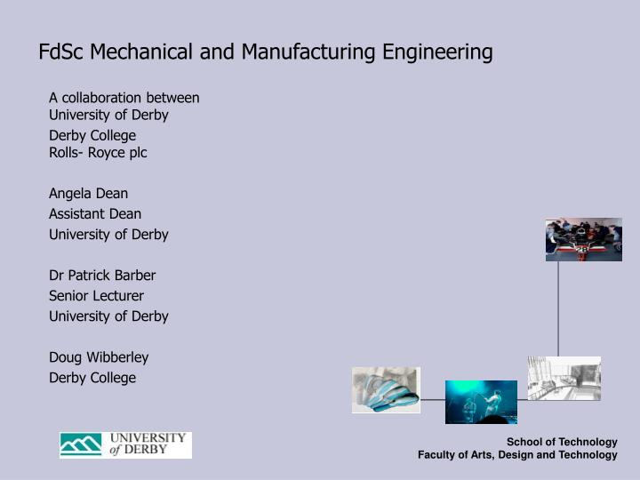 fdsc mechanical and manufacturing engineering n.