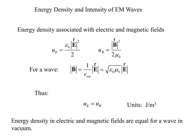 Energy Density and Intensity of EM Waves