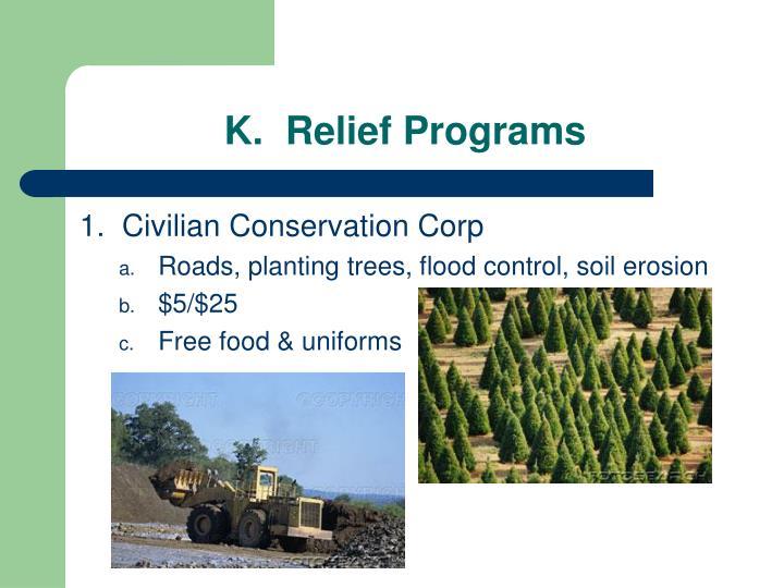 K.  Relief Programs