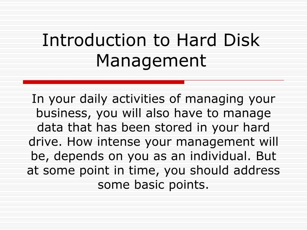 ppt introduction to hard disk management powerpoint presentation