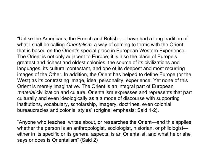"""Unlike the Americans, the French and British . . . have had a long tradition of what I shall be calling"