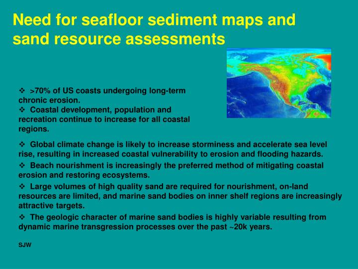 Need for seafloor sediment maps and sand resource assessments